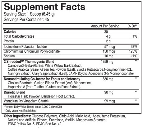 Beast 2Shredded Thermogenic Powder Nutritional Information