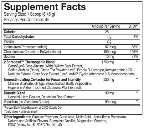 Beast 2Shredded Thermogenic Powder Nutritional Information