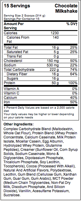 BSN TrueMass - Nutrition Facts