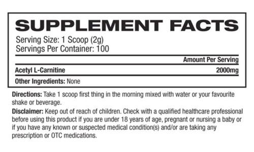 Platinum Labs Essentials Acetyl-L-Carnitine Nutritional Information
