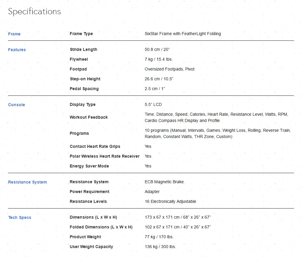 Horizon Andes 3 Elliptical Specifications