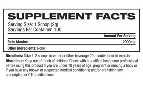 Platinum Labs Essentials Beta Alanine Nutritional Information