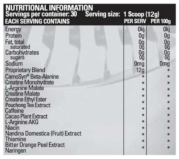BPM Labs Black label The One 2.0 Nutritional Information