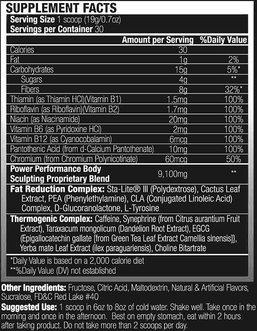 Power Performance Body Effects Weight Loss Formula Nutritional Information