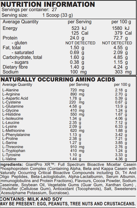 Delicious Casein - Nutrition Panel