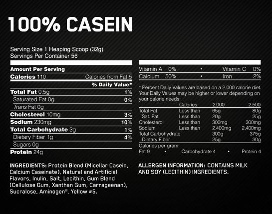 Optimum Nutrition Gold Standard Casein Nutritional Information
