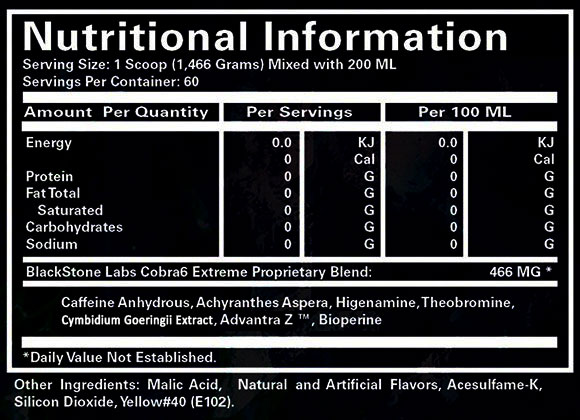 Blackstone Labs Cobra 6 Extreme Thermogenic Nutritional Information