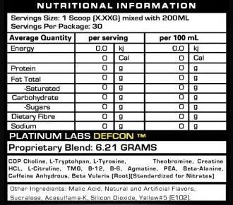Defcon 1 Nutritional information