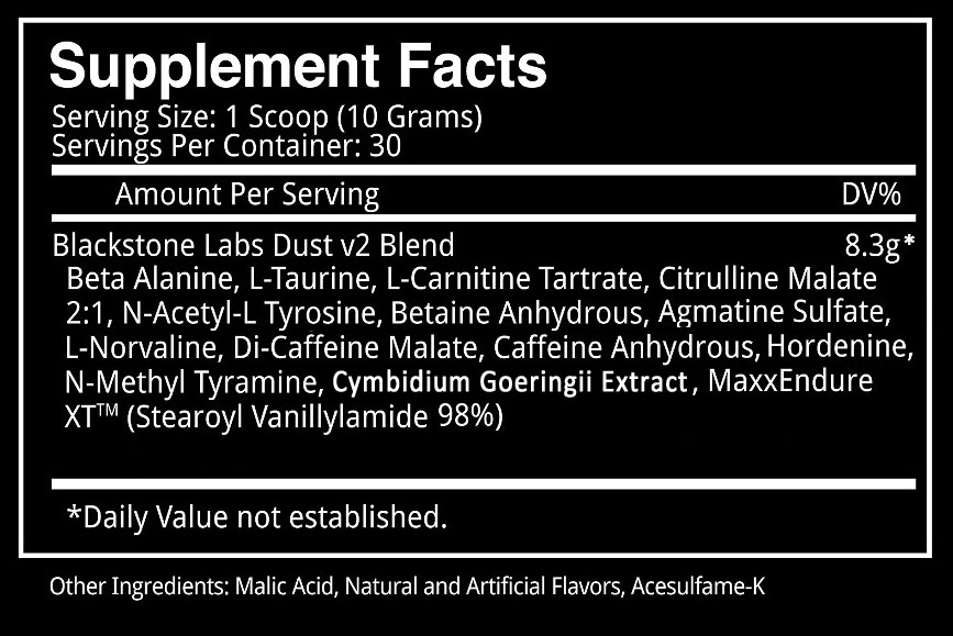 Blackstone Labs Dust V2 Nutritional Information