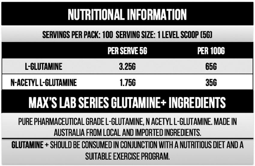 Max's Glutamine+ Powder Nutritional Information
