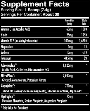 iForce Max Out Nutritional Information