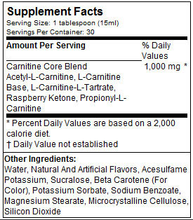 MusclePharm Liquid Carnitine Core Nutritional Information