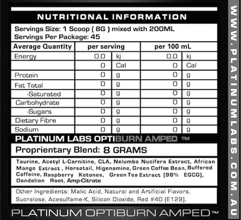 Platinum Labs Optiburn Nutritional information