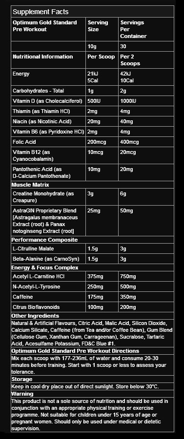 Optimum Nutrition Gold Standard Pre Workout Nutritional Information