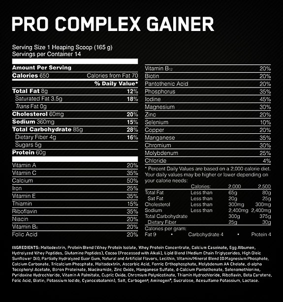 Optimum Nutrition Pro Gainer Nutritional Information