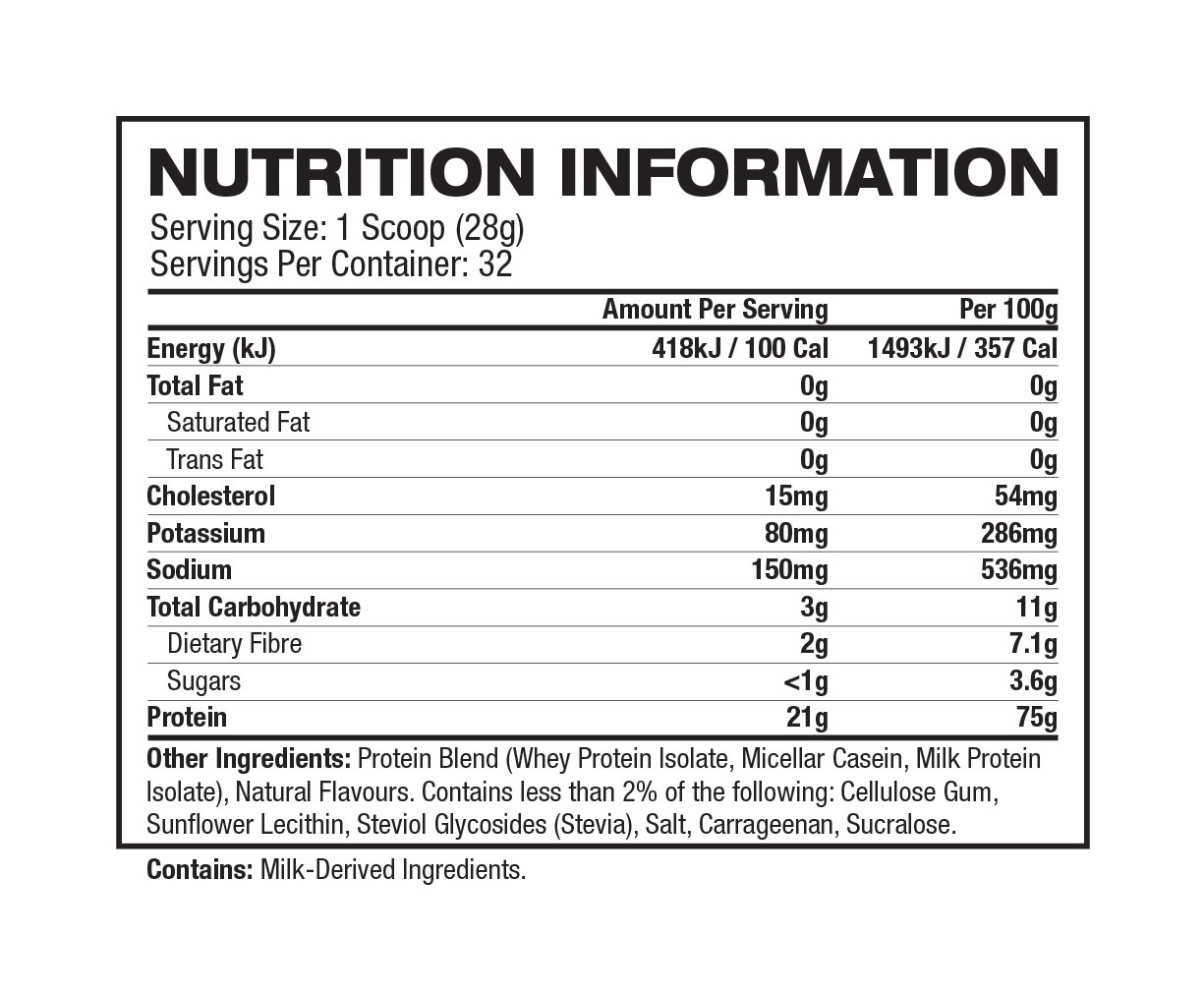 Quest Protein Powder - Nutrition Facts