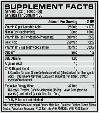 Cellucor C4 Ripped Nutritional Information