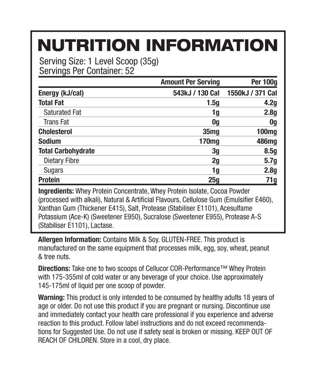Cellucor Whey Protein - Nutrition Panel