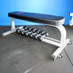 Aquila Flat Bench with Dumbbell Rack
